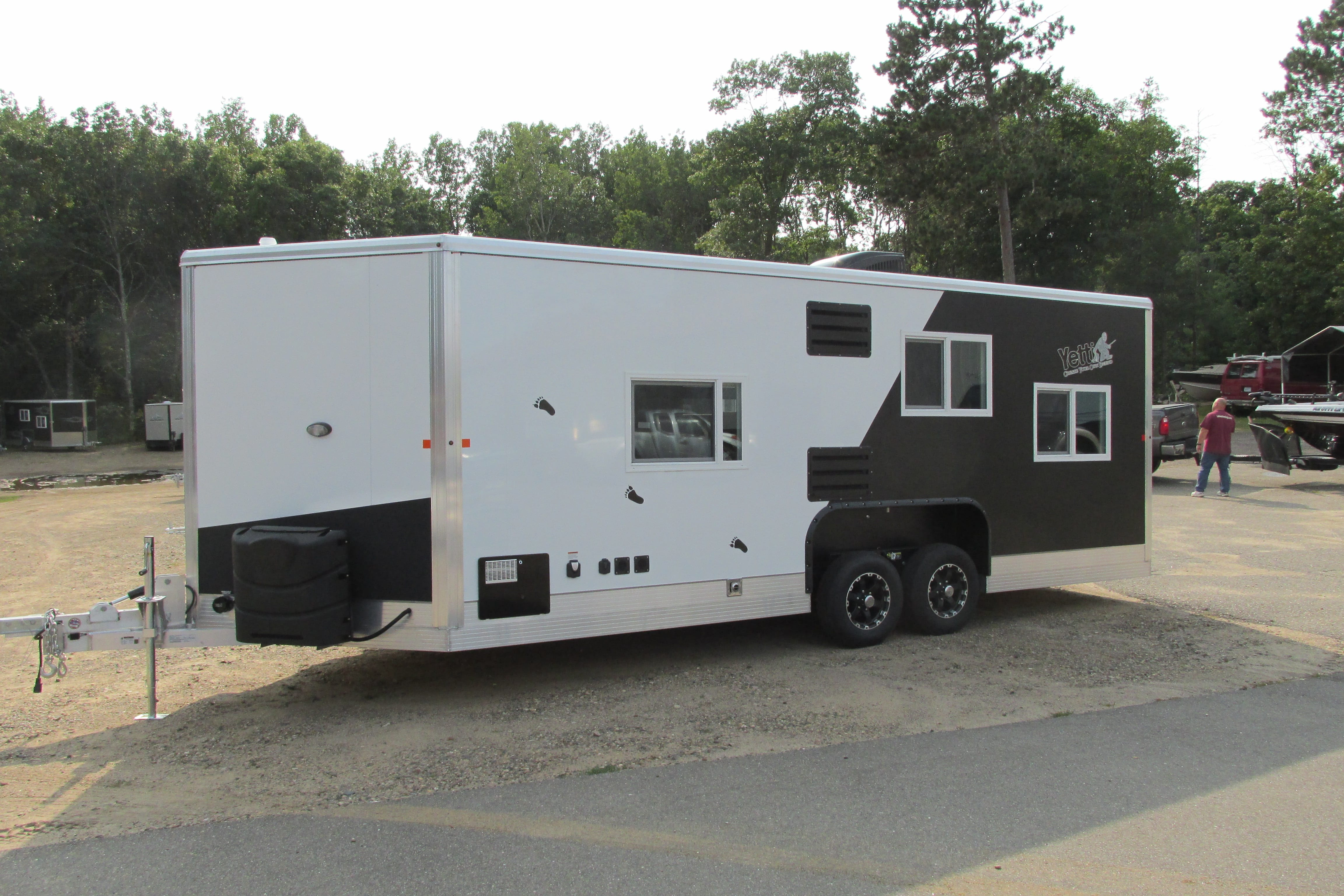 Coming soon 2018 full rv fish house yetti traxx edition for Aluminum fish house